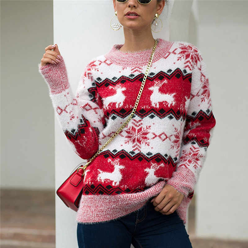 Winter Women Sweater 2019 Korean Knitted Christmas Sweater Warm Tunic Long Sleeve Pink Pullover Cute Casual Top Cashmere Jumper