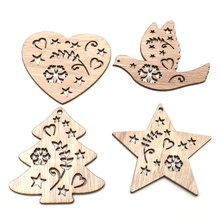 10PCS Christmas Wood Chips Hanging Decoration Ornaments DIY Tree Xmas Festive Home Decor Party