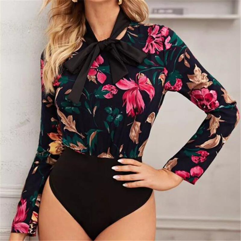 Female Long Sleeves Playsuit New Fashion Patchwork Floral Printed Spring Slim Bodycon Jumpsuit Women Fashion Bow Collar Bodysuit