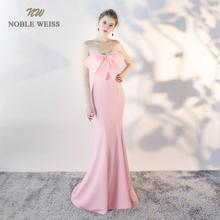 NOBLE WEISS Long Mermaid Evening Dresses Front Bow Palace Prom Gown 2019 Formal Special Occasion Gowns