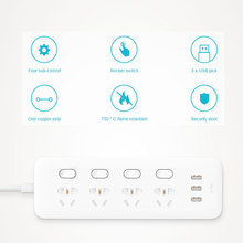Xiaomi Mi Power Strip 4 Sockets with Control Switch 5V/2.1A Fast Charge 3 USB port Extension Charger Converter