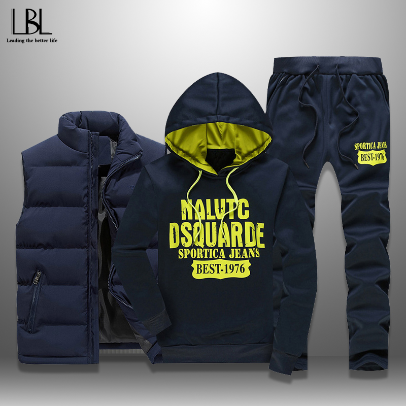 Men's Set Casual Men Tracksuits 3 Pieces Autumn Winter Sportswear Warm Vest+Hoodie+Sweatpants Letter Printed Sweatshirts S-5XL