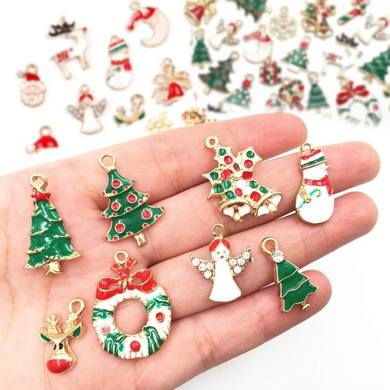19/20Pcs Mixed Metal Enamel Charms Christmas Pendants Ornaments Beads for Bracelet Earrings Jewelry Making Xmas Tree Decoration(China)