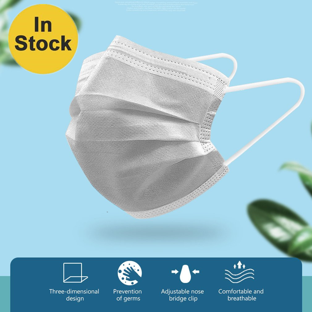 In Stock! 50/20PCS Disposable Non-Woven Masks 3-Ply Hanging Ear Filter Elastic Facial Dust-Proof Safety Masks