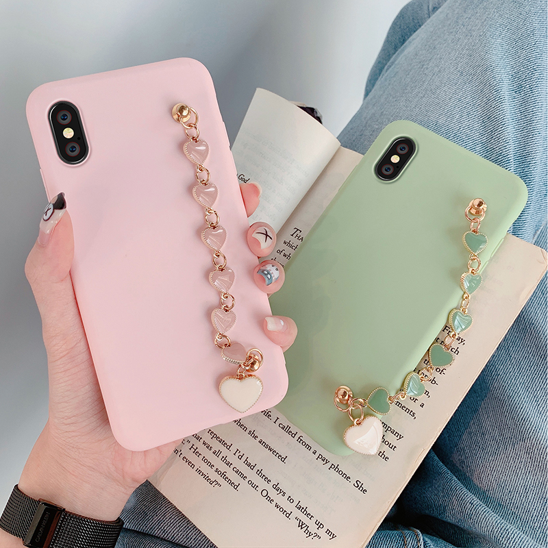 Candy colors Cover With bracelet for iPhone 11 Pro Max apple 6 6s 7 8 Plus Solid color Phone Case for iphone XS Max X XR Soft