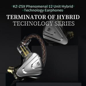 Image 4 - KZ ZSX Metal Earphones 5BA+1DD Hybrid technology 12 driver HIFI Bass Earbuds In Ear Monitor Earphones Noise Cancelling Headset