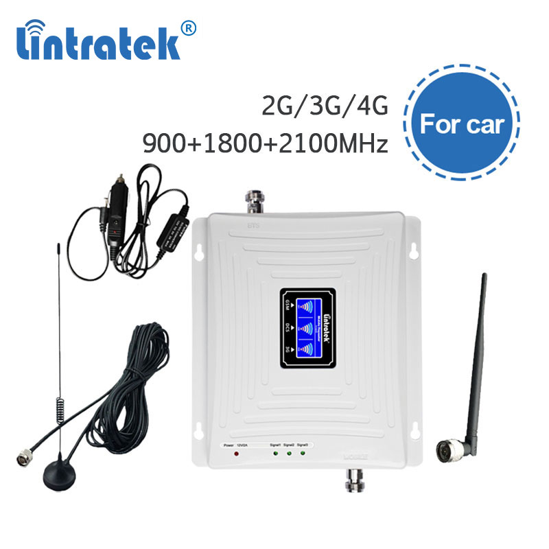 Lintratek 2G 3G 4G Mobile Phone Signal Booster Car Use GSM WCDMA LTE DCS Signal Amplifier 900 1800 2100 Cellphone Repeater S4