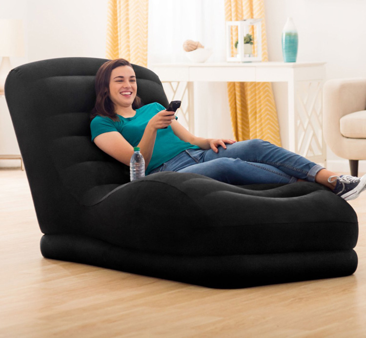 Foldable Lounger/Couch With Backrest Footrest Cup Holder Inflatable Anti Slip Air Sofa Living Room Bedroom Chair With Flock
