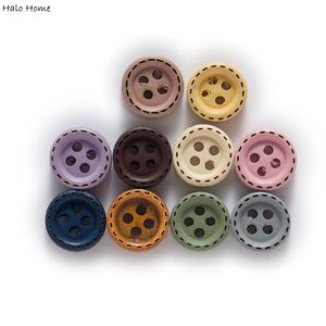100 Pcs Round Dotted Line Wood Buttons Handwork Sewing Scrapbooking Clothing Crafts Accessories Gift Card DIY Handmade 10mm
