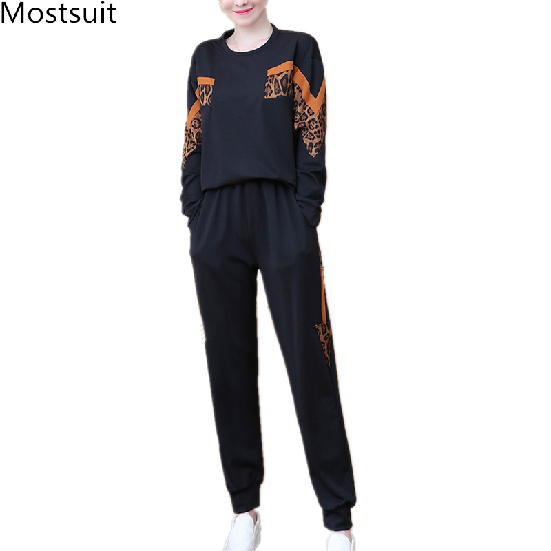 Black Leopard Print Two Piece Sport Tracksuits Sets Women Plus Size Korean Sweatshirt And Pants Suits Casual Fashion Outfits 29