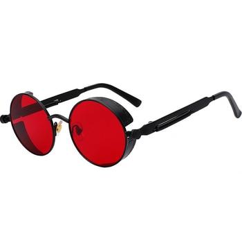 2019 Metal Steampunk Sunglasses Men Women Fashion Round Glasses Brand Design Vintage Sun Glasses High Quality Oculos de sol steampunk metal bee kids sunglasses boys girls luxury vintage children round sun glasses oculos feminino accessories