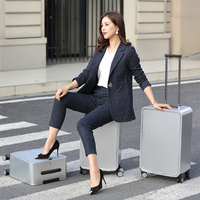 """High quality 100% full aluminum 16""""2024 inch suitcase travel luggage spinner wheels business trolley luggage bag on wheel"""