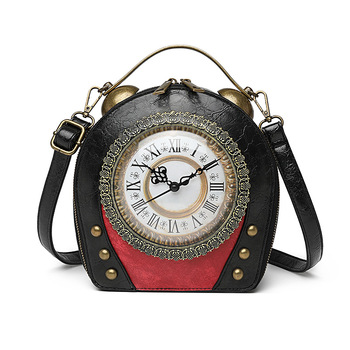 Real clock real movement Women Bags Leather Patchwork Embroidery Handbags Girl Shoulder Bags Cross Body Messenger Bag Handmade