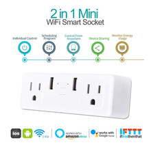 Mini 2 In 1 Smart Plug 10A Dual Jack Dual USB Socket WIFI Smart Socket Timing Voice Remote Control Work With Alexa Google HOME(China)