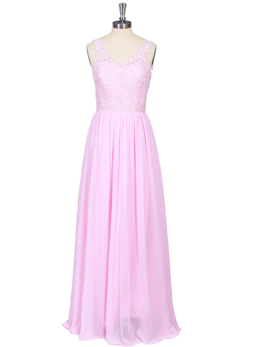 A-Line Straps Floor Length Sleeveless Chiffon Cocktail Dress With Appliques