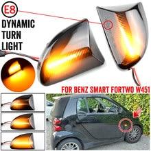 2 pces fumado lente âmbar led lado dinâmico marcador luz turno luzes de sinal para smart fortwo 451 mk1 & mkii 2007-2015