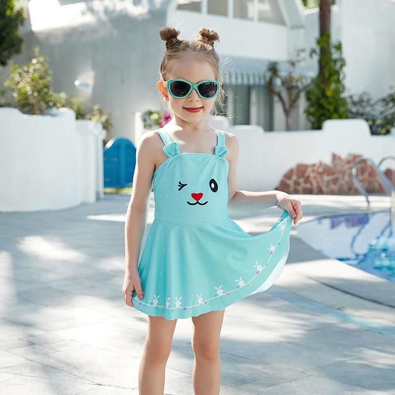 2019 New Style Miss Sunshine KID'S Swimwear Cute Rabbit Dress Boxers GIRL'S Swimsuit