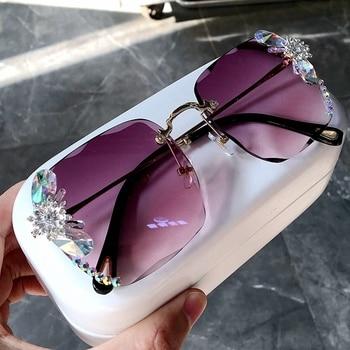 sunglasses women 2020 new fashon Vinage Sqaure luxury glasses Rimless rhinesotne sunglasses Shades For Women Summer oculos