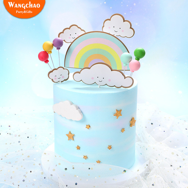 1 Set Double Layers Rainbow Happy Birthday Cake Topper Clouds Party Decorations Kids DIY Favors