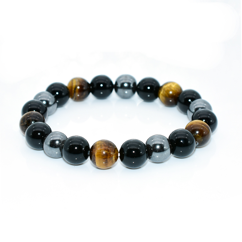 NAPOLN Men Bracelets Bangle Natural Stone Bracelets For Women 10MM Tiger Eye & Hematite & Black Obsidian Natural Stone Bracelet
