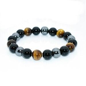 NAPOLN Men Bracelets Bangle Natural Stone Bracelets For Women 10MM Tiger Eye & Hematite & Black Obsidian Natural Stone Bracelet(China)