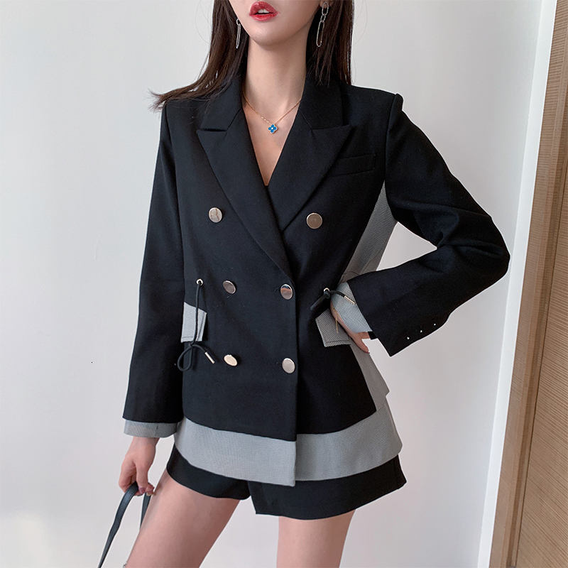 LANMREM 2020 Spring New Plaid Pathcwork Blazer Female Double Breasted Temperament Popular Loose Personality Women's Jacket PC402