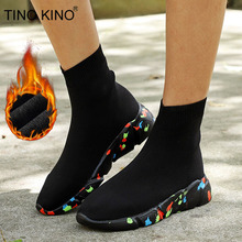 Chunky Sneakers Vulcanized Women Flat Stretch Knittin Fur Sock Boots Plus Size Men Ladies Short Boots Platform Female Shoes
