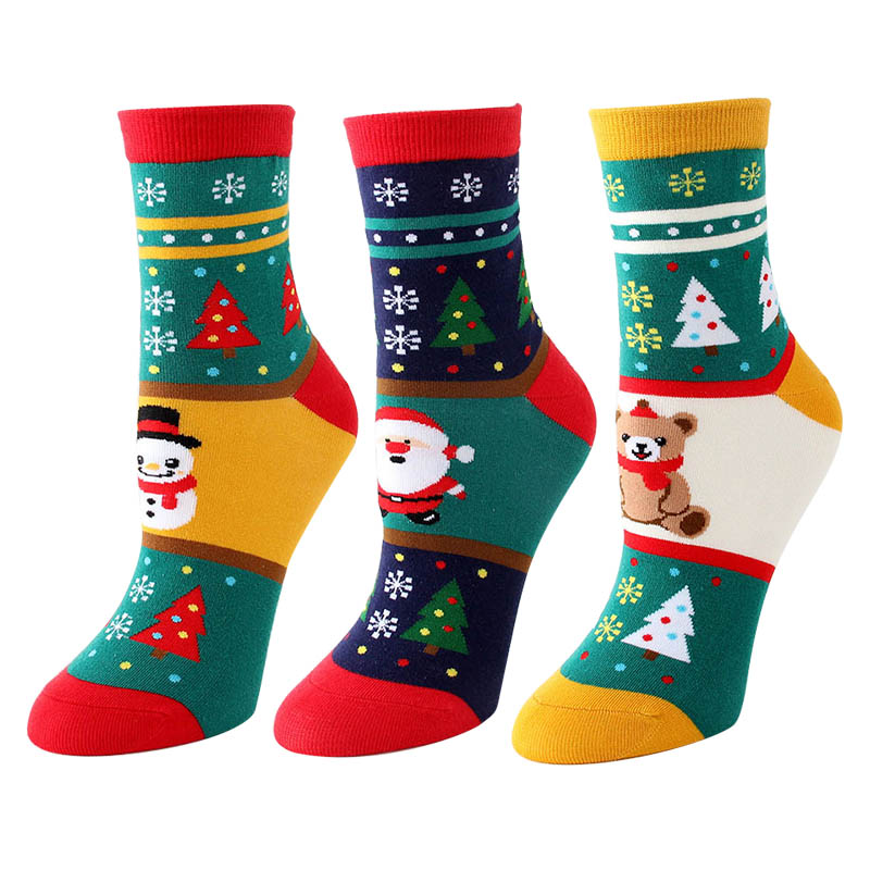 Women's Cotton Socks Cute Happy Funny Socks Kawaii Cartoon Harajuku Socks Christmas Skarpetki Gift For Girls 3pairs/lot #F