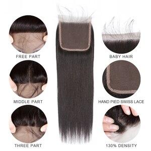 Image 4 - BEAUDIVA человеческие волосы пряди с закрытием прямые бразильские волосы 3 4 пряди с закрытием Remy волосы переплетения