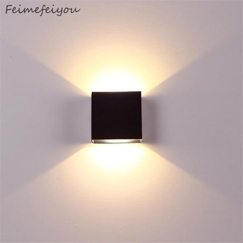 Natal escurecimento lampada luminaria conduziu a luz da parede de alumínio projeto ferroviário quadrado conduziu a lâmpada cabeceira quarto do hotel iluminação tv
