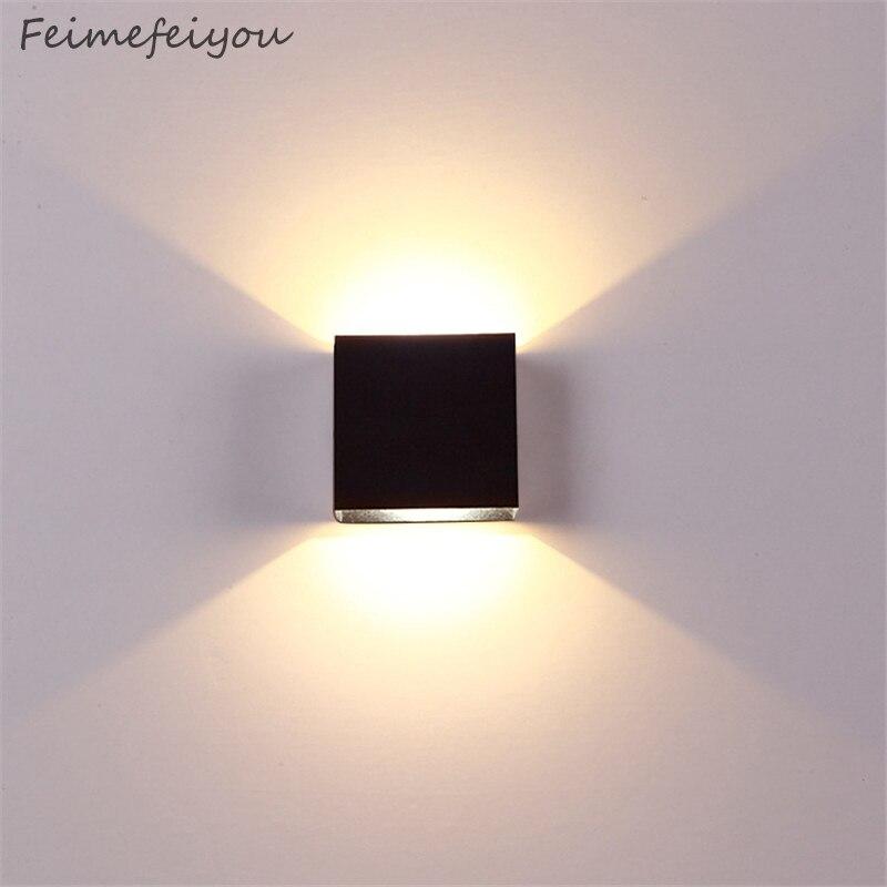 Noel karartma lampada luminaria LED alüminyum duvar lambası demiryolu proje kare LED lamba başucu odası yatak odası tv aydınlatma