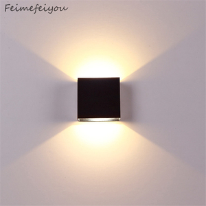 christmas dimming lampada luminaria LED Aluminium wall light rail project Square LED lamp bedside room bedroom hotel tv lighting(China)