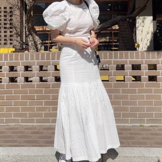 [EWQ] Pleated Ruffles High Elastic Waist Half-body Skirt Women Casual Tide New Summer 2021 Puff Sleeve Blouse White 2-piece Set 1