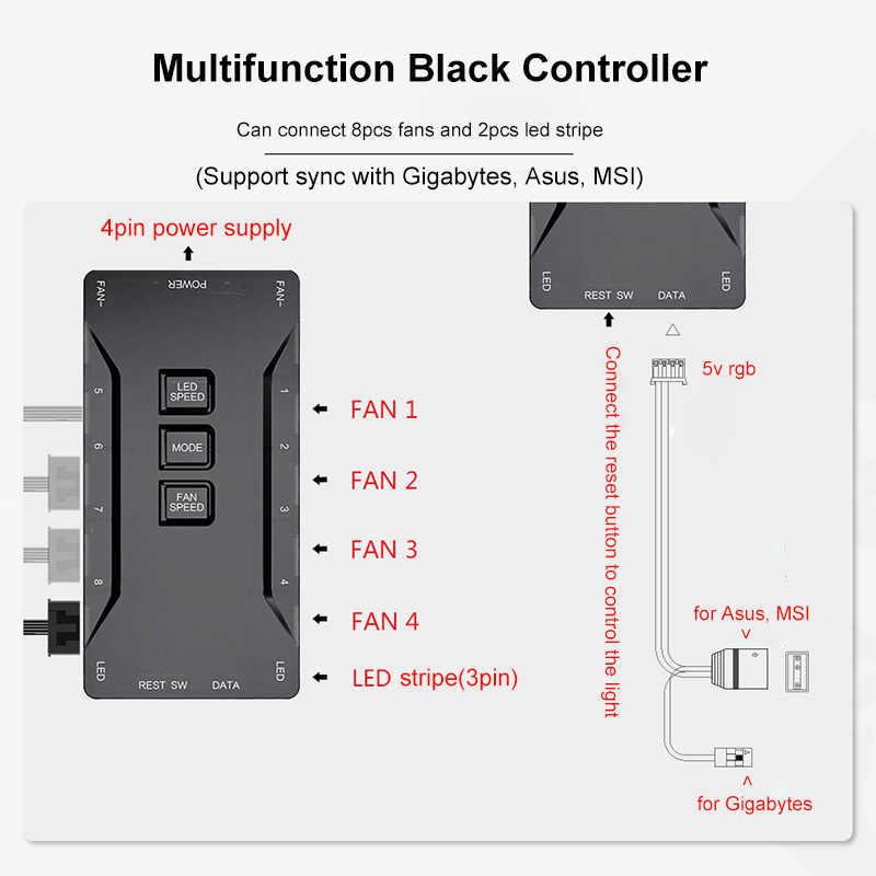 Aigo Komputer Cerdas RGB Kipas Case PC Cooler Cooling 120 Mm Penggemar RGB Menyesuaikan 3P-5V Aura sync Cahaya Tenang Pendingin CPU LED Fan