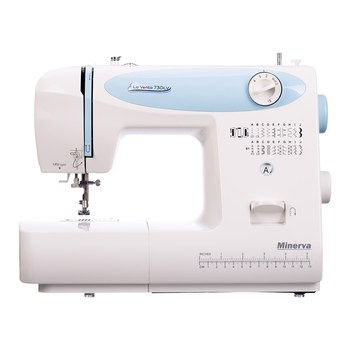 Sewing machine Minerva la vento 730lv 20 operations vertical shuttle white leather jeans embroidery mini sewing