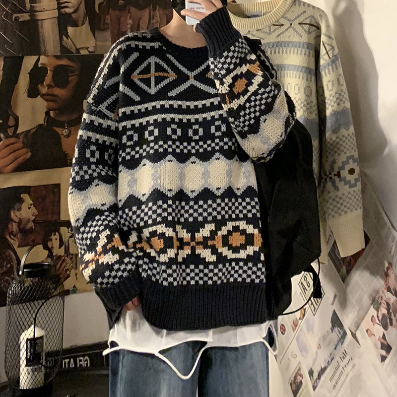2019 Winter Men's Casual Round Neck Printing Woolen Sweater In Warm Coats Tide Cashmere Pullover Loose Knitting Plus Size M-XL