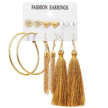 Gold Tassel Long  Earrings set for women Stud Pearl hoop earrings