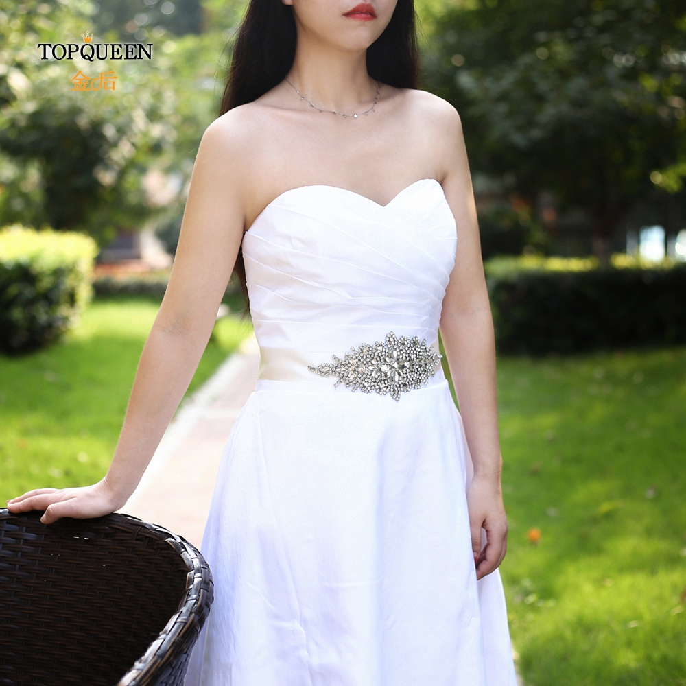 TOPQUEEN S01 Wedding Gown Belt Jewel Belts For Dress Rhinestone Belt For Wedding Dress Sash Belt Black Decorative Belt Sparkly