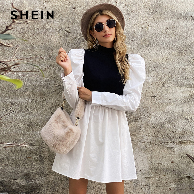 SHEIN Black and White Mock Neck Puff Sleeve Colorblock Dress Women Autumn High Waist Flared Hem A Line Elegant Short Dresses|Dresses| - AliExpress