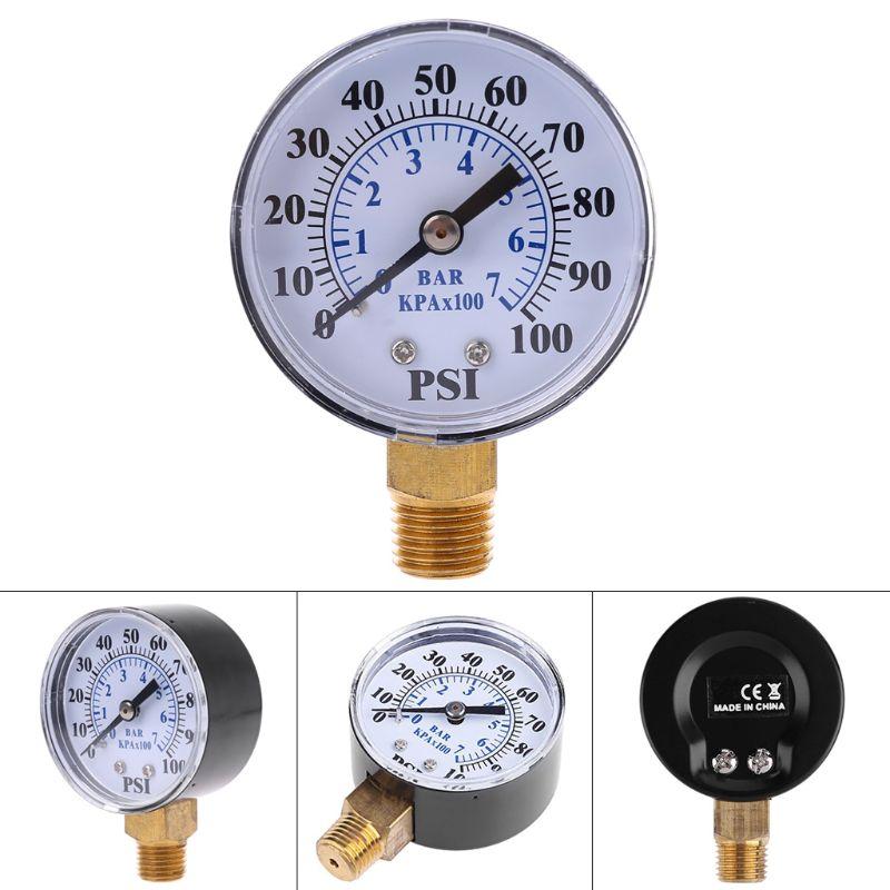 0-100 PSI 0-7 Bar Water Air Gas Pressure Monitor Well Pump Pressure Gauge 1/4'' NPT Thread