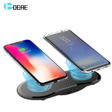 DCAE Double 10W Dual Seat Qi Wireless Charger For Samsung S10 S9 S8 Type-C Fast Charging Dock Pad iPhone XS Max XR X 8 Plus