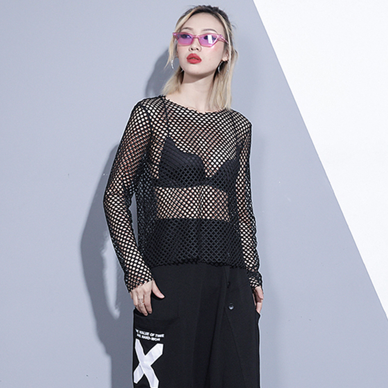 [EAM] Women Black Brief Mesh Perspective Big Size T-shirt New Round Neck Long Sleeve  Fashion Tide  Spring Autumn 2020 1DC348 2