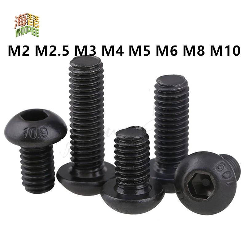 5-50pcs ISO7380 Hex Screw M2 M2.5 M3 M4 M5 M6 M8 M10 Black Button Head Hex Socket Cap Screw Hexagon Socket Round Head Screws