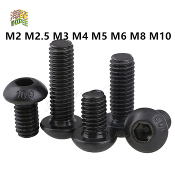 50pcs m2 m2 5 m3 m4 iso7380 stainless steel 304 round head screws mushroom hexagon hex socket button head screw bolt 5-50pcs ISO7380 Hex Screw M2 M2.5 M3 M4 M5 M6 M8 M10 Black Button Head Hex Socket Cap Screw Hexagon Socket Round Head Screws