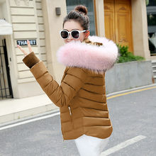 2020 Winter jacket Parkas Women Big Fake Fur Down Cotton Jacket Coat Ladies Warm Cotton Padded Coats Female Short Overcoat(China)