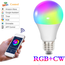 10W WIFI Smart Light Bulb RGB Dimming Light Bulb Smart WiFi Light LED E27 B22 E26 E14 GU10 Bulb Light Alexa Colorful Bulb