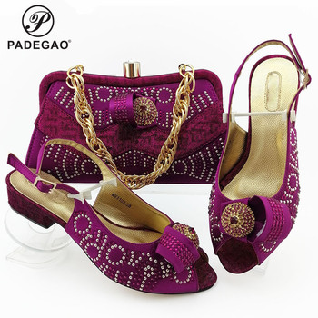 2020 Mature Magenta Color New Coming Cofortable Shoes And Bag To Match Set Italian High Heels Party Shoes And Bag Set