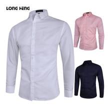 Longheng 2021 nova moda camisa de manga longa sólida magro ajuste masculino social casual negócio branco preto vestido camisa M-5XL