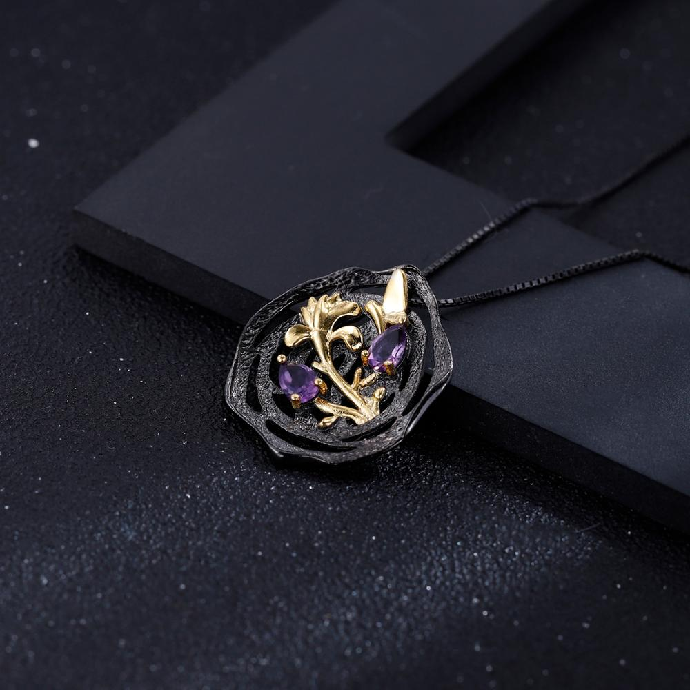 18K Gold over Silver Amethyst /& Diamond Flower Necklace