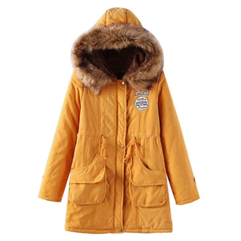 Women's Winter Jackets Warm Add Wool Hat Belt Hoodie Coat Cotton-padded Jacket Parka Casual Outwear Military Hooded Coat